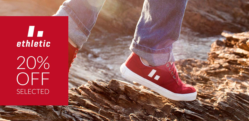 20% off selected Ethletic footwear - fairtrade, organic and vegan. Ends 9/6/20