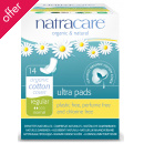 Natracare Organic Cotton Ultra Pads - Regular with Wings - Pack of 14