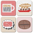 Coffee Coasters Set  (set of 4 assorted designs)