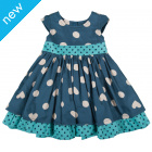 Little Twirly Bow Dress - Polka Hearts