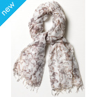 Sketched Butterfly Scarf - Black, Grey & White