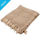 Cotton Stripe Weave Throw - Beige