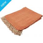 Cotton Diamond Weave Throw - Orange