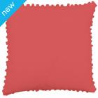 Pom Pom Cotton Cushion Cover - Spiced Coral