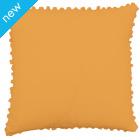 Pom Pom Cotton Cushion Cover - Beeswax