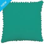 Pom Pom Cotton Cushion Cover - Sea Green