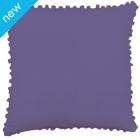 Pom Pom Cotton Cushion Cover - Plum
