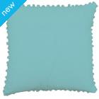Pom Pom Cotton Cushion Cover- Angel Blue