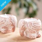 Terracotta Elephant Tealight Holders - Set of 2