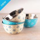 Floral Enamel Bowls - Set of 4