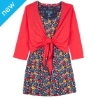Frugi Top and Tie Cardi - Poinsetta/Navy Blooming Garden
