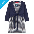 Frugi Top and Tie Cardi - Navy/Sea Stripe