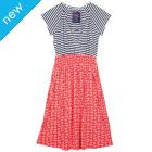 Frugi Spring Smocked Dress - Anchor/Sea Stripe