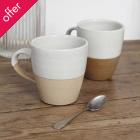 Traidcraft Cream Ceramic Mugs -Set of 2