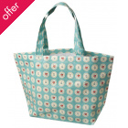 Recycled Blue Doily Floral Large Shopping Bag