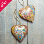 Peacock & Dove Heart Decorations - Set of 2