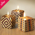 Traidcraft Patterned Candles -Set of 3