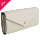 Recycled Leather Envelope Wallet - Ivory