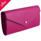 Recycled Leather Envelope Wallet - Rubine Pink