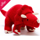 Large Knitted Triceratops Dinosaur - Red