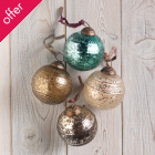 Edi Embossed Baubles Large - Set of 4