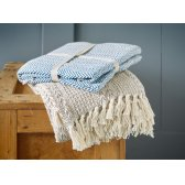 Cotton Stripe Weave Throw Blanket - Beige