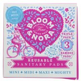 Bloom & Nora Midi Reusable Sanitary Pads - Bloom - Pack of 3 with Bag