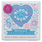 Bloom & Nora Midi Reusable Sanitary Pads - Nora - Pack of  3 with Bag