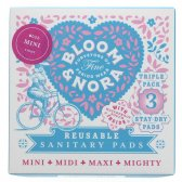 Bloom & Nora Mini Reusable Sanitary Pads - Nora - Pack of 3 with Bag
