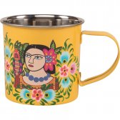 Yellow Frida Kahlo Stainless Steel Mug