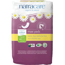 Natracare Organic Cotton Maxi Pads - Regular - Pack of 14