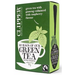 Clipper Fair Trade Green Tea with Ginseng enhanced with Raspberry - 20 Bags