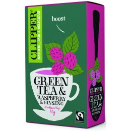Clipper Fair Trade Green Tea with Ginseng & Raspberry - 20 Bags