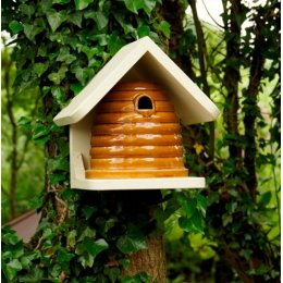 Ceramic Bee Nester With Roof