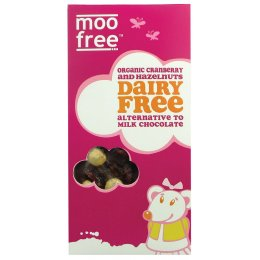 Moo Free Dairy Free Cranberry & Hazelnut Chocolate Bar - 100g