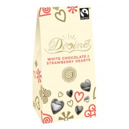Divine White Chocolate Hearts with Strawberry - 100g