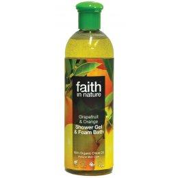 Faith In Nature Shower Gel & Foam Bath - Grapefruit and Orange - 400ml