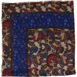 Blue Square Folk Print Scarf