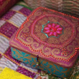 Pink Embroidered Jewellery Box