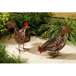 Solar Powered Metal Scroll Hen Light - Set of 2