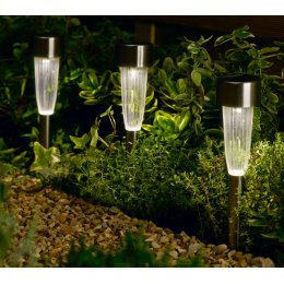 Solar Powered Fluted Stake Lights - Pack of 10