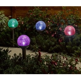 Solar Powered Rainbow Colour Crackle Globe Lights - Set of 4