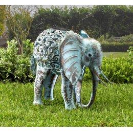 Solar Powered Metal Silhouette Elephant Light