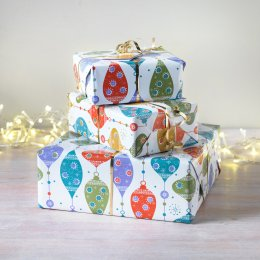 Christmas Bauble Wrap & Tags - Set of 4