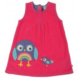 Alice Cord Owl Dress - Raspberry
