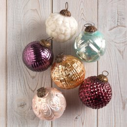 Assorted Textured Foiled Glass Baubles - Set Of 6