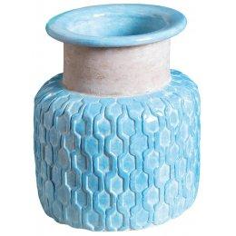 Crystal Blue Amari Textured Vase