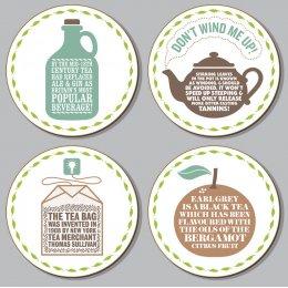 Tea Coasters Set  (set of 4 assorted designs)