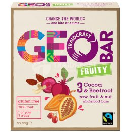 Geobar Gluten Free Fruity Cocoa & Beetroot Bar 33g  - Box of 3