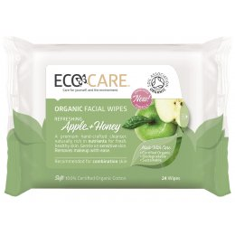 Ecocare Cleansing Face Wipes - Organic Apple and Honey - Pack Of 24